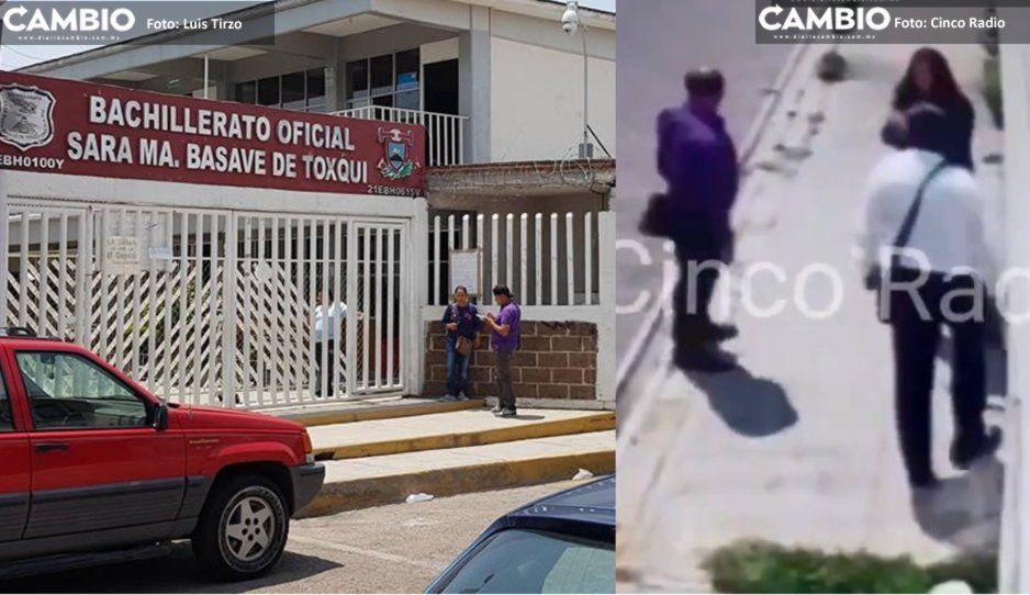 Iban a entregar folletos de universidad pero terminan robando 120 mil pesos y celulares en bachillerato de Cholula (VIDEO)