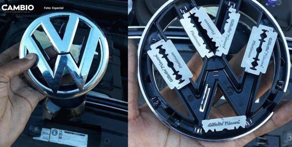 Con navajas de afeitar protege emblema de la Volkswagen para que no se lo roben