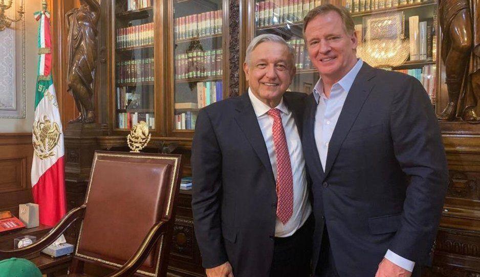 AMLO se reúne con comisionado de la NFL previo al Kansas City vs Los Ángeles Chargers