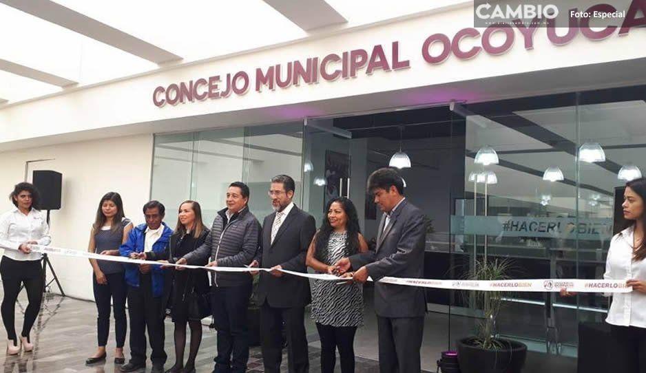 Derrocha Ocoyucan en oficina para cobrar predial y está ubicada en San Andrés Cholula