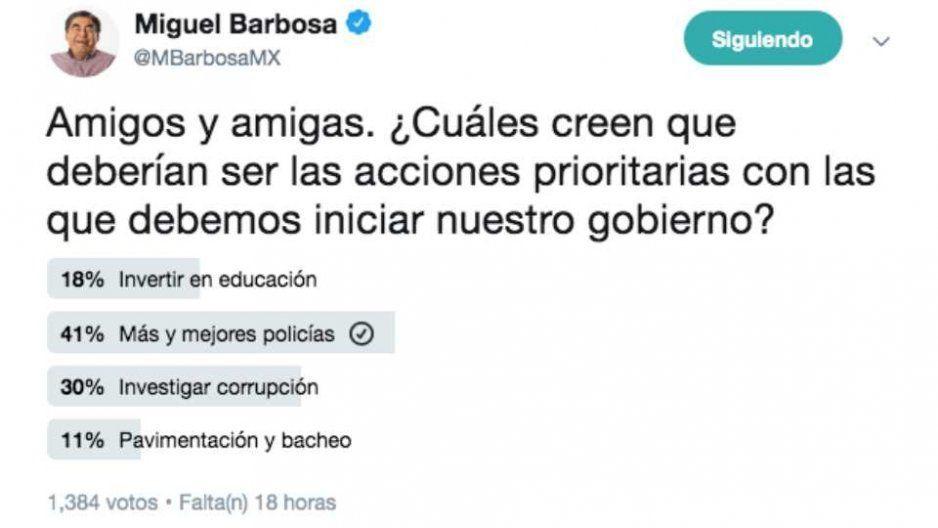 Barbosa lanza encuesta por Twitter y los poblanos le exigen como prioridad la seguridad