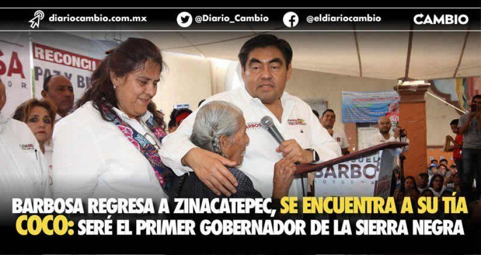 Miguel Barbosa regresa a su natal Zinacatepec y promete que será el primer gobernador de la Sierra Negra