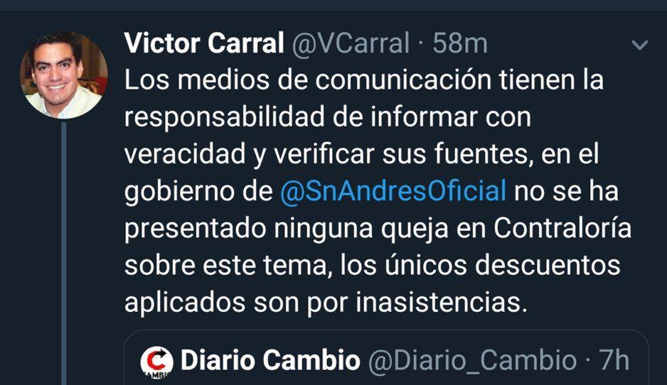 Contralor de San Andrés asegura que no hay quejas por descuentos a policías