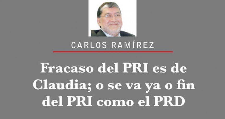 Fracaso del PRI es de Claudia; o se va ya o fin del PRI como el PRD
