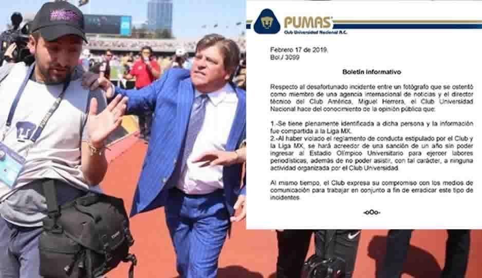 Un año de sanción al fotógrafo que agredió a Miguel Herrera