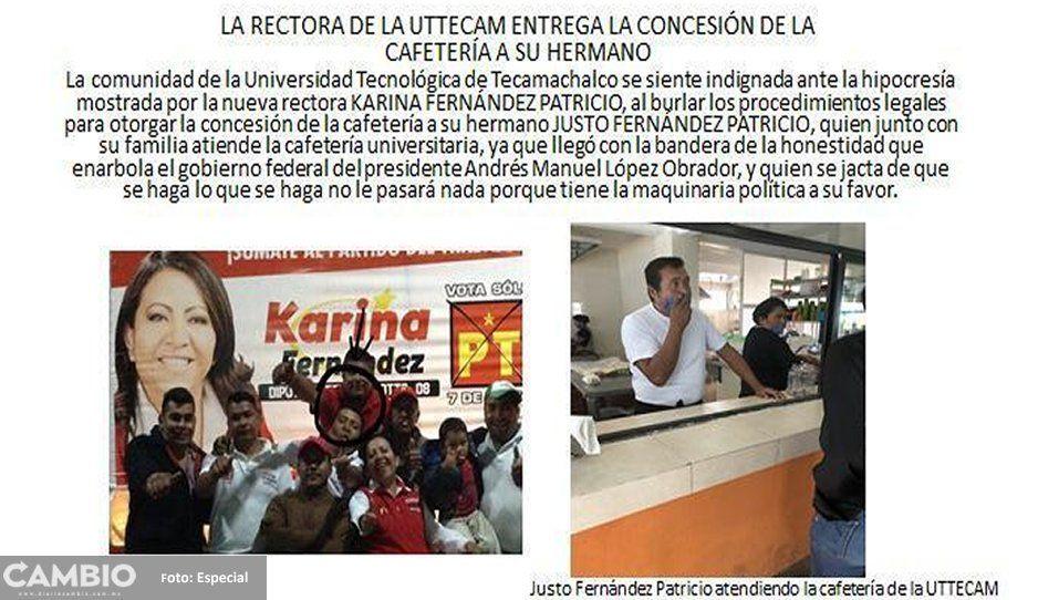 ¡Que todo quede en familia! Rectora de Uttcam de Tecamachalco da concesión de cafetería a su hermano