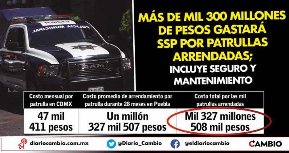 Más de mil 300 millones de pesos gastará SSP por patrullas arrendadas; incluye seguro y mantenimiento