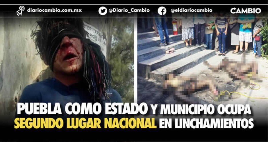 Puebla como estado y municipio ocupa segundo lugar nacional en linchamientos