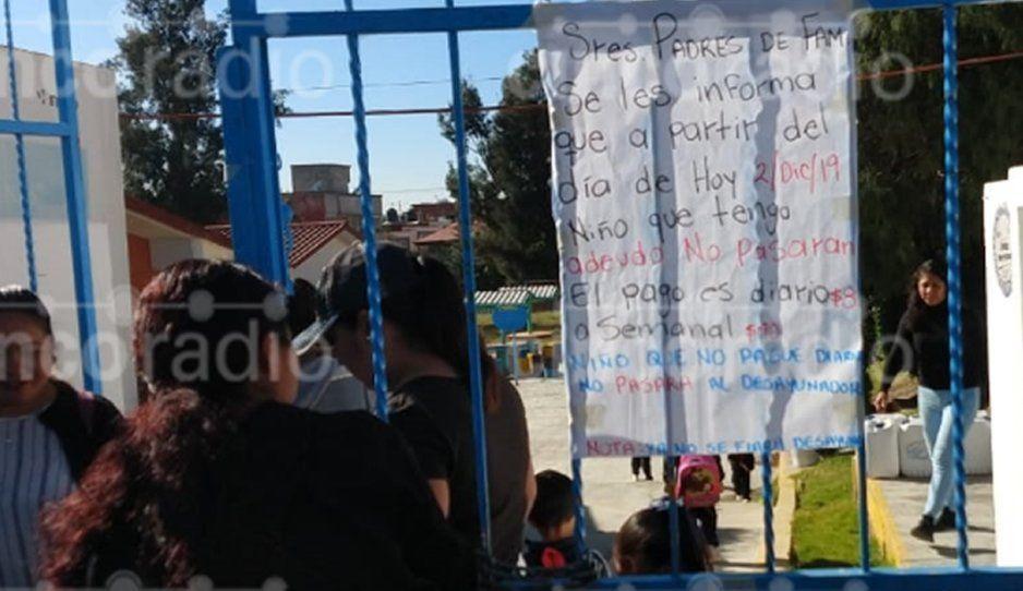 Condicionan desayunos a niñitos de preescolar en Guadalupe Hidalgo