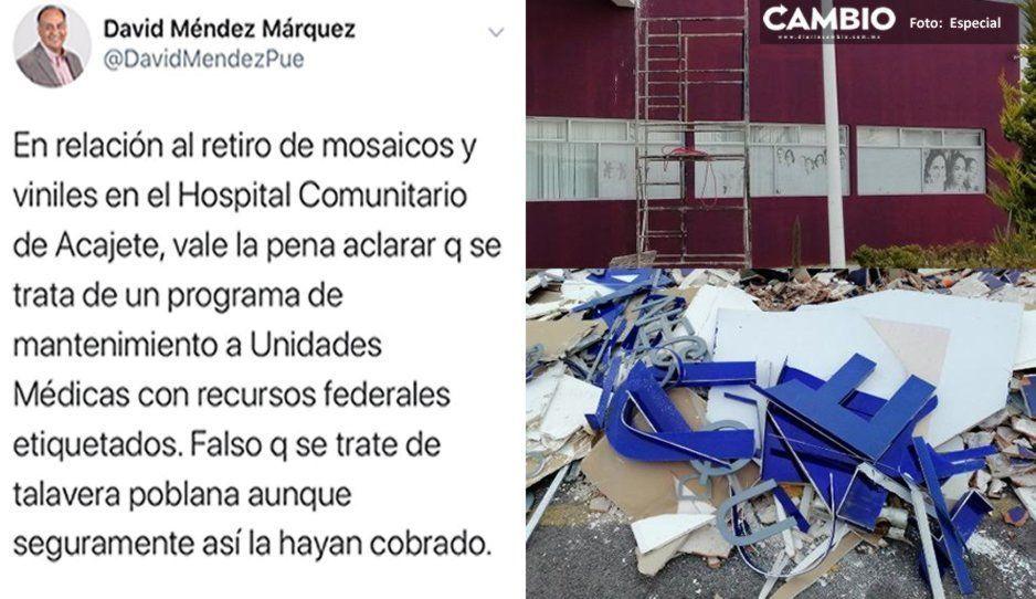 Retiro de talavera fake en Hospital de Acajete es por mantenimiento: David Méndez