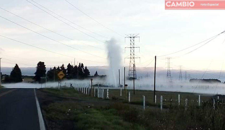 Cierran la carretera federal por fuga de hidrocarburo en Ahuazotepec