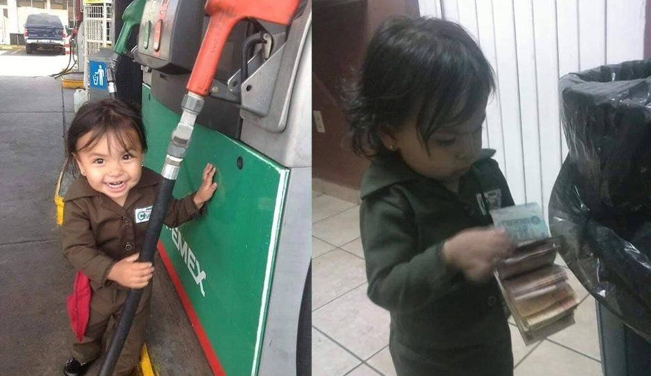 Despachadorsita de gasolina se vuelve viral tras ayudarle a su mamá a trabajar (FOTOS)