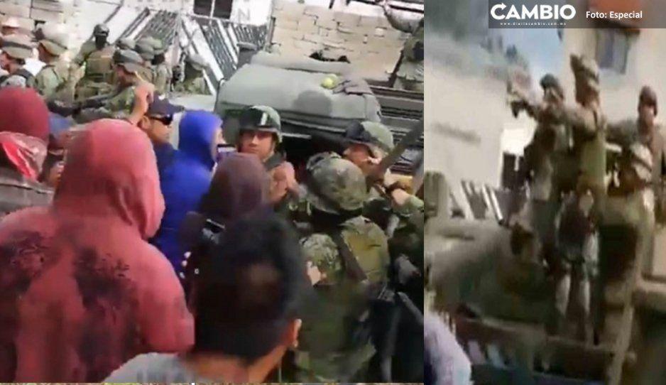 ¡Chinguen a su madre, putos! Así provocaba el pueblo bueno de Acajete al Ejército mientras les lanzaba piedras (VIDEO)