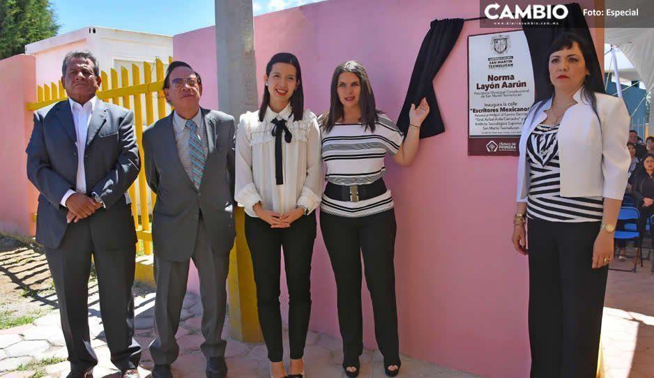 Norma Layón inaugura calle Escritores Mexicanos, que da acceso a centro escolar e instituto superior de Texmelucan
