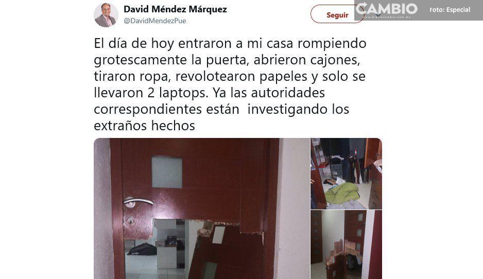 Hampones allanan la casa de David Méndez y sólo se llevan dos laptops