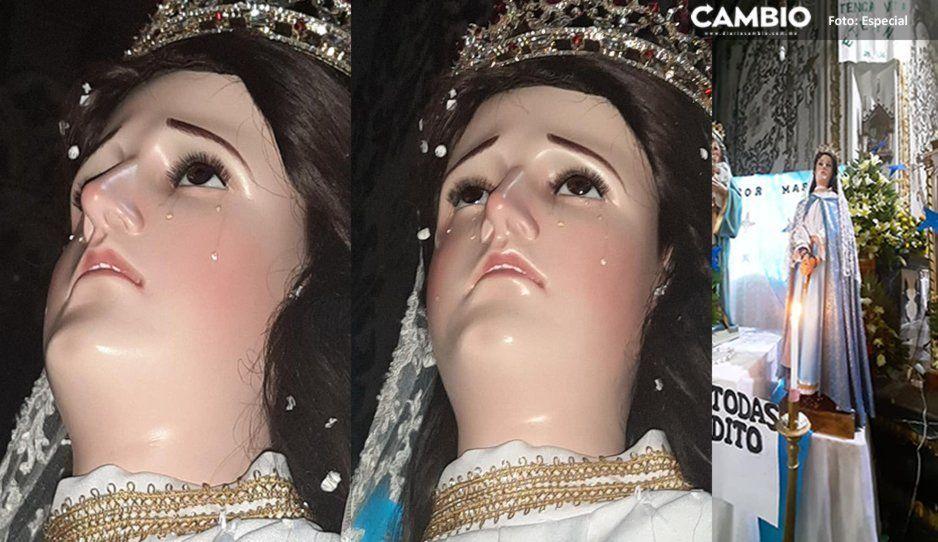 Captan milagro: Virgen de los Dolores llora ante feligreses por ola de violencia en Ciudad Serdán