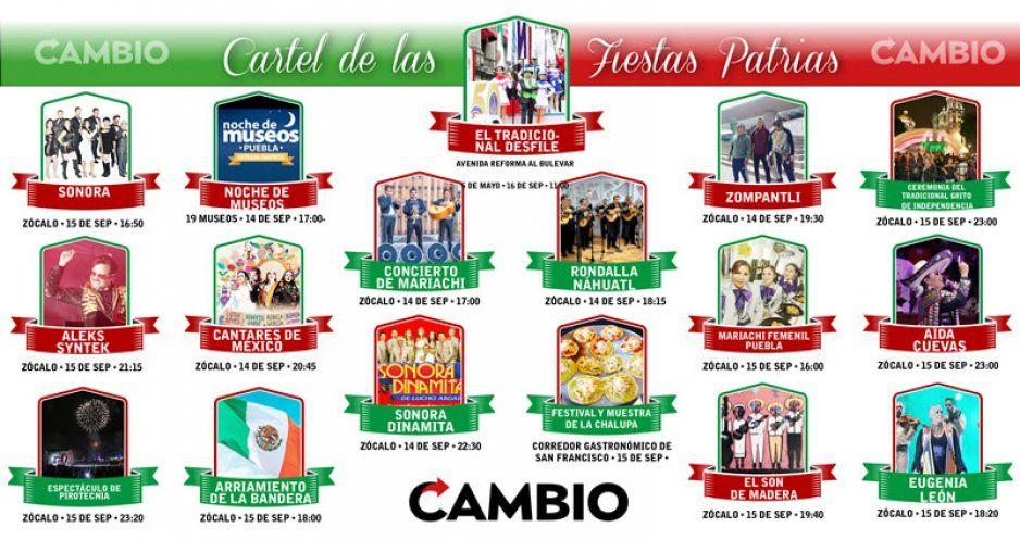 Conoce el cartel para celebrar las fiestas patrias en Puebla