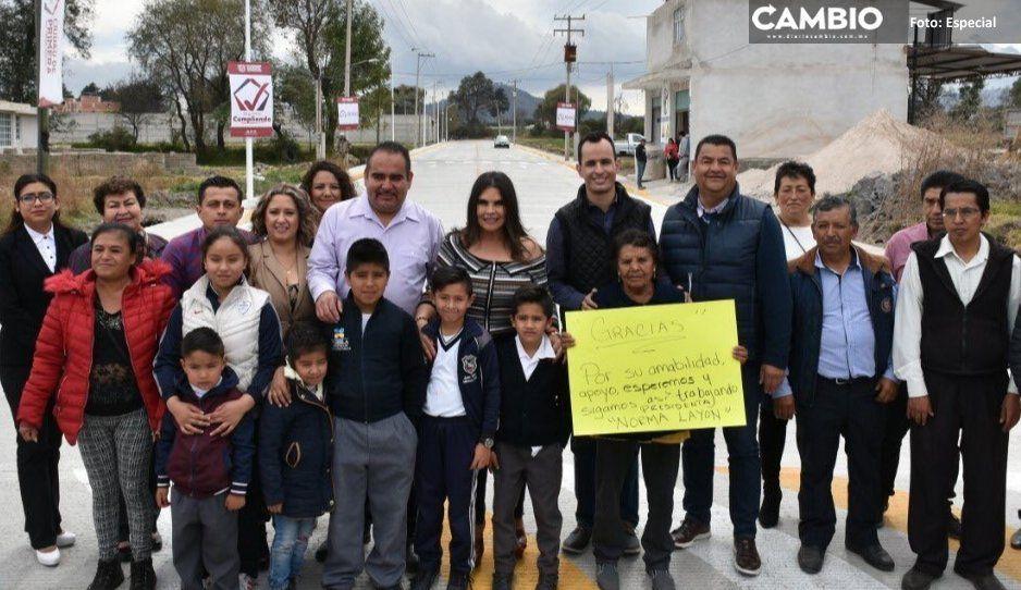 Norma Layón inaugura vialidad en  San Rafael Tlanalapan, Texmelucan