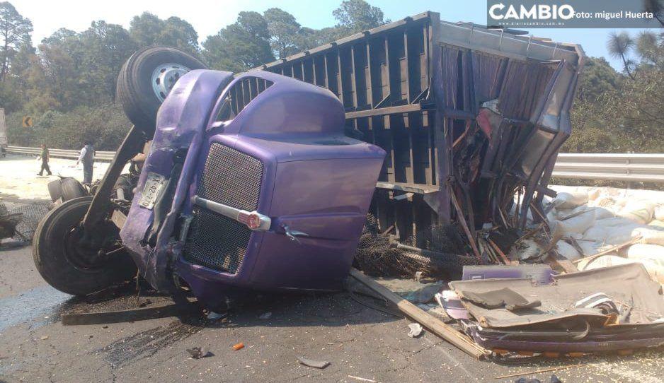Feroz accidente en la autopista México-Puebla deja un muerto (FOTOS)