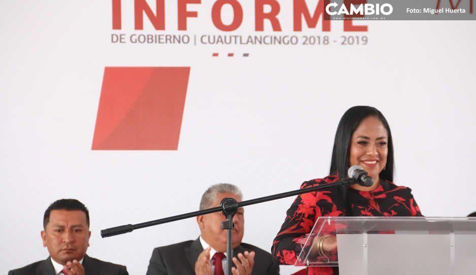 Lupita Daniel destaca en informe inversión  de 101 millones de pesos en Cuautlancingo