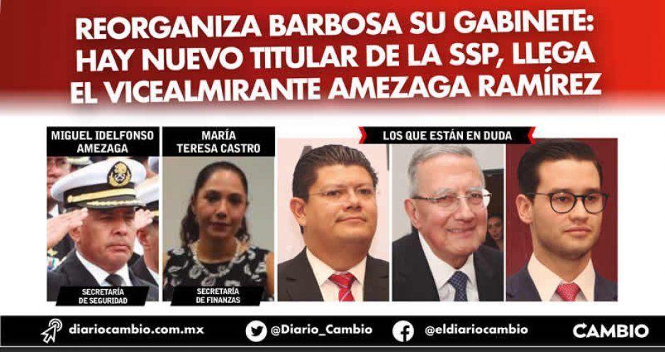 Reorganiza Barbosa su gabinete: hay nuevo titular de la SSP, llega el vicealmirante Amezaga Ramírez