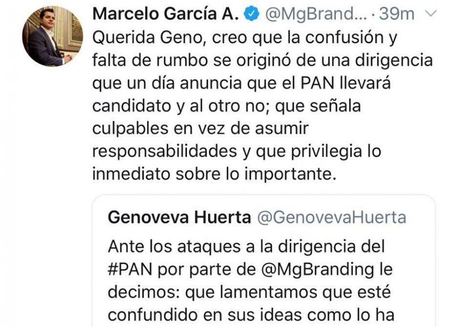 Agarrón tuitero entre Genoveva y Marcelo tras su renuncia del PAN
