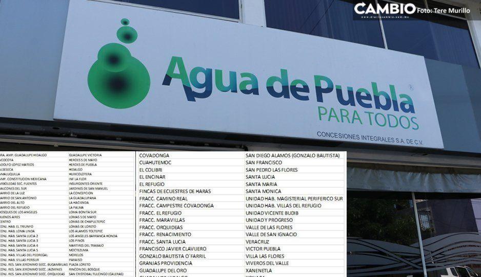 San Manuel, Héroes, La Hacienda, Plaza Loreto y 84 colonias más se quedarán sin agua ¡ubica la tuya!