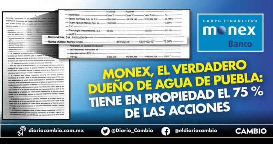 Monex, el verdadero dueño de Agua de Puebla: tiene en propiedad el 75 % de las acciones