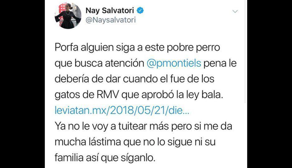 Pablo Montiel es un pobre perro que solo quiere llamar la atención: Nay Salvatori