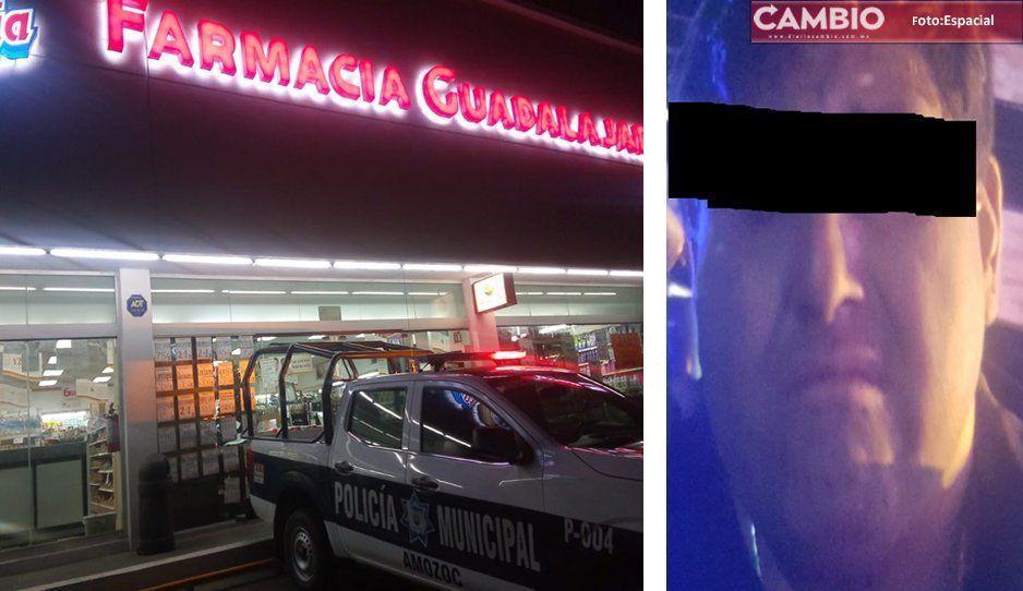 Policía de Amozoc frustra robo en Farmacia Guadalajara