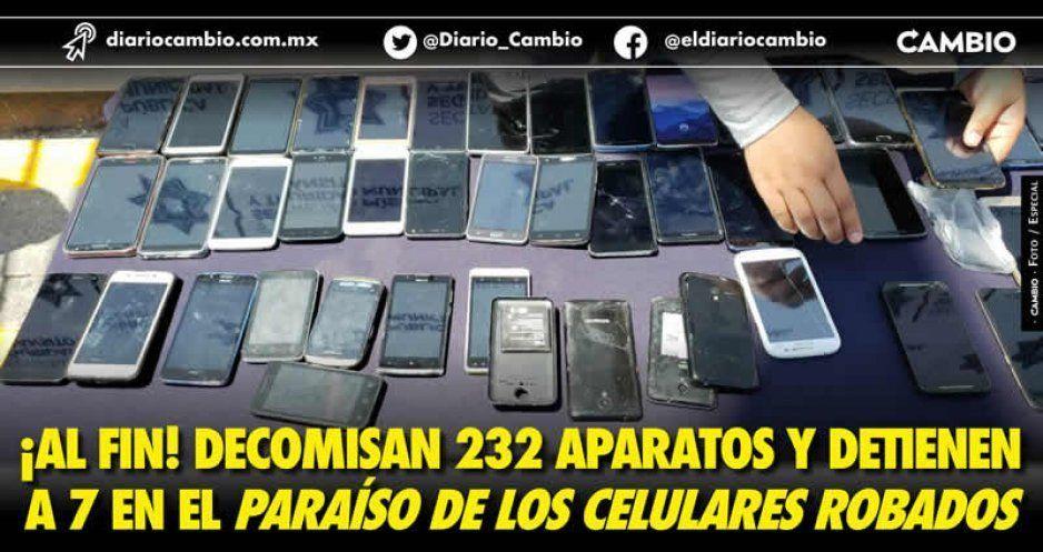 Les llega su capilla a vendedores de celulares robados en la 8 Poniente; saldo: 7 detenidos y 239 teléfonos decomisados