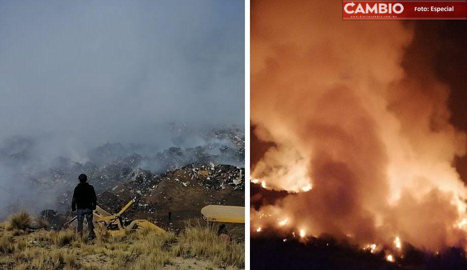 Luego de 15 horas, por fin controlan incendio en relleno sanitario de Cuyoaco
