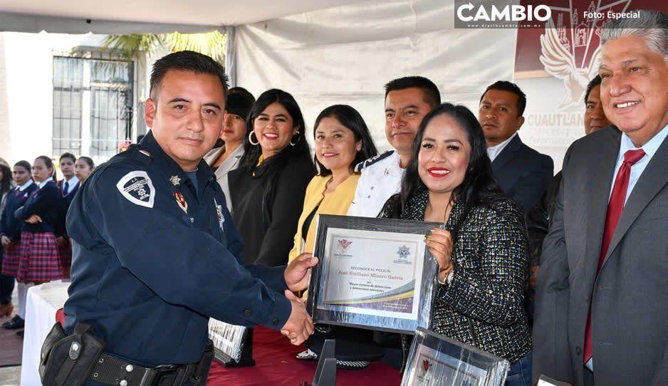 Reconoce la alcaldesa Lupita Daniel a policías municipales de Cuautlancingo