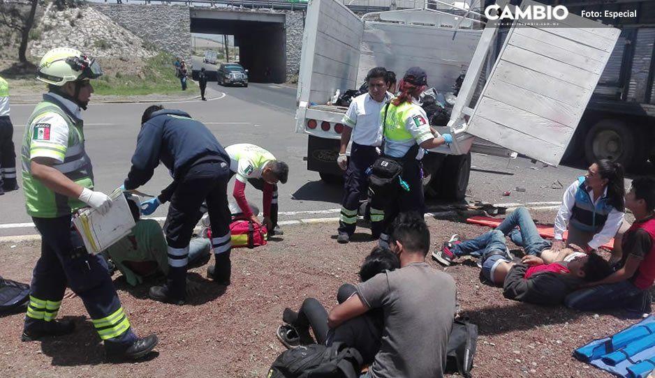Choque de camioneta con indocumentados deja 10 heridos en la Puebla-Orizaba (FOTOS)