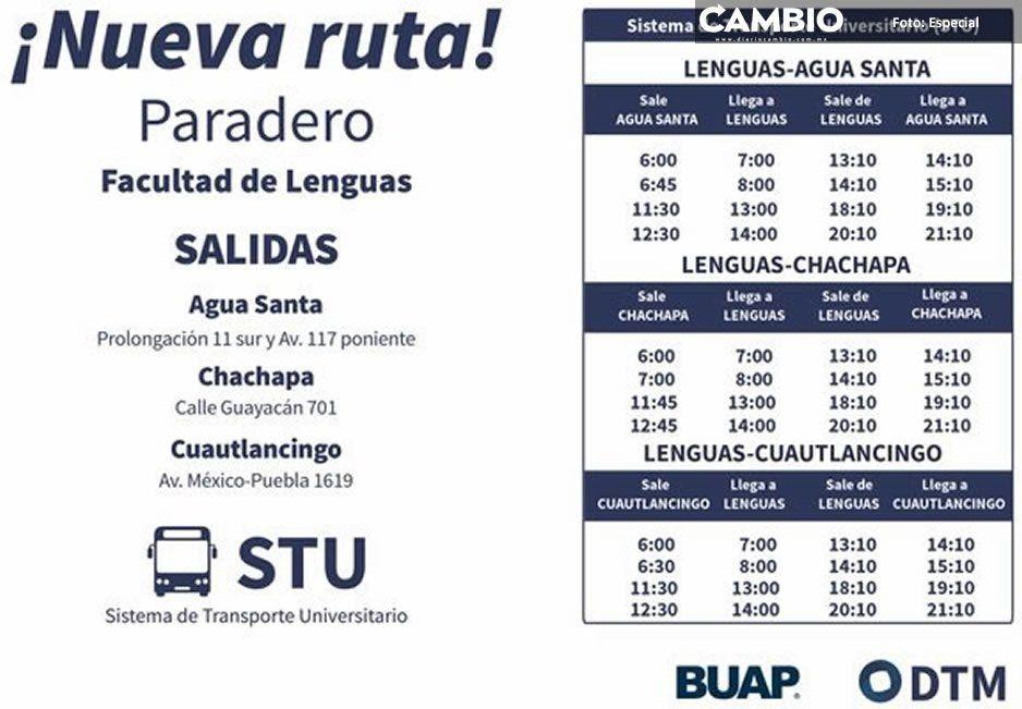 BUAP estrena tres nuevas rutas  del transporte universitario STU
