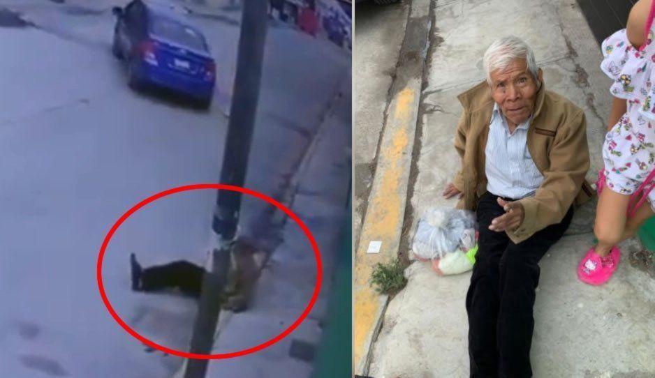 Abandonan a viejito en la 3 de Mayo: su hija lo bajó del coche con una bolsa de ropa (VIDEO)