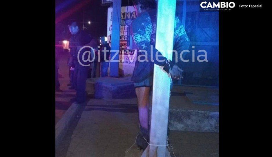 Amarran y golpean a rata tras intentar robar un auto en San Pedro Cholula