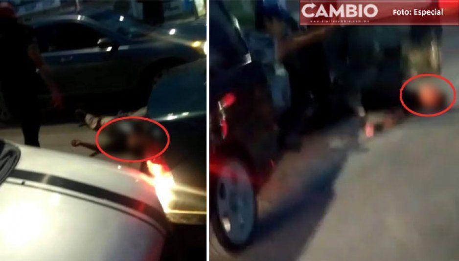 Bravucones pasan encima el coche a un joven en entronque Amalucan (VIDEO)