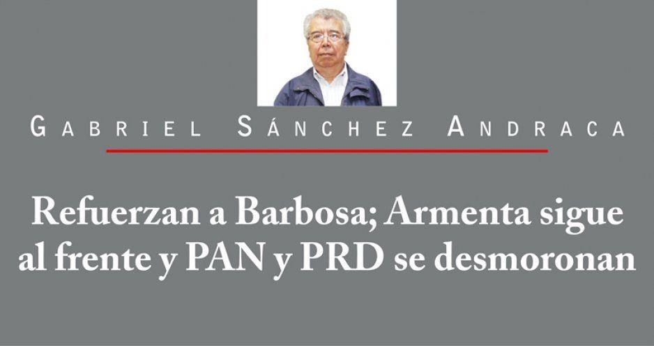 Refuerzan a Barbosa; Armenta sigue al frente y PAN y PRD se desmoronan