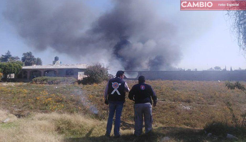 Protección Civil Estatal confirma explosión de bodega de cohetes en Tepeaca