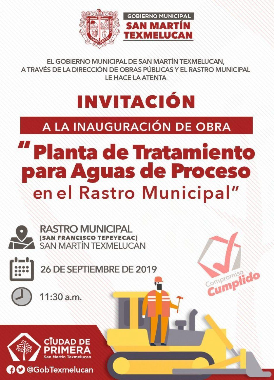 Texmelucan invitan a inauguración de planta de tratamiento para aguas de rastro municipal (VIDEO)