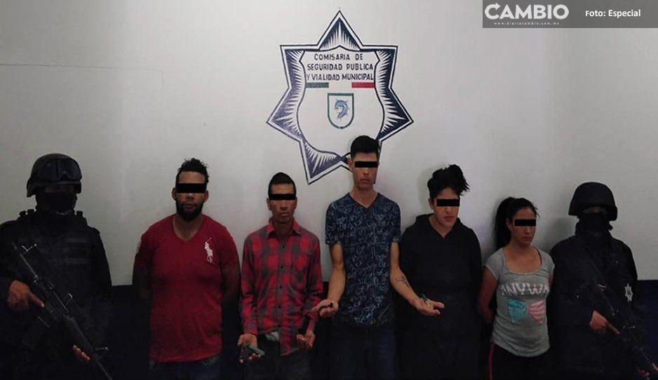 Detienen a 5 personas por portación ilegal de armas de fuego en Coronango