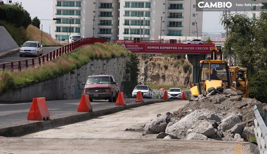 ¡Precaución! Por obra en Periférico, reducen carriles rumbo a Valsequillo