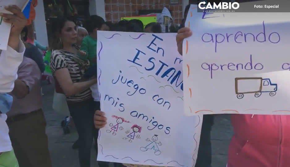 Protestan madres en Atlixco por los recortes a estancias infantiles