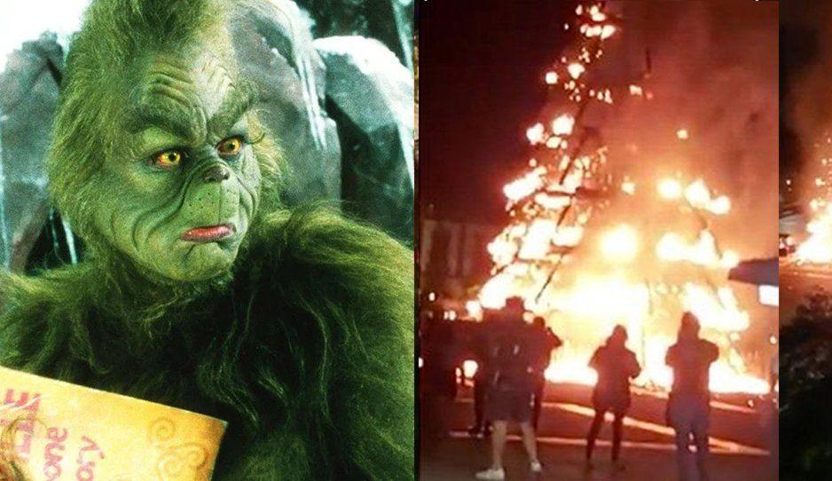 El Grinch llega a Plaza Las Américas e incendia árbol de navidad gigante (VIDEO)
