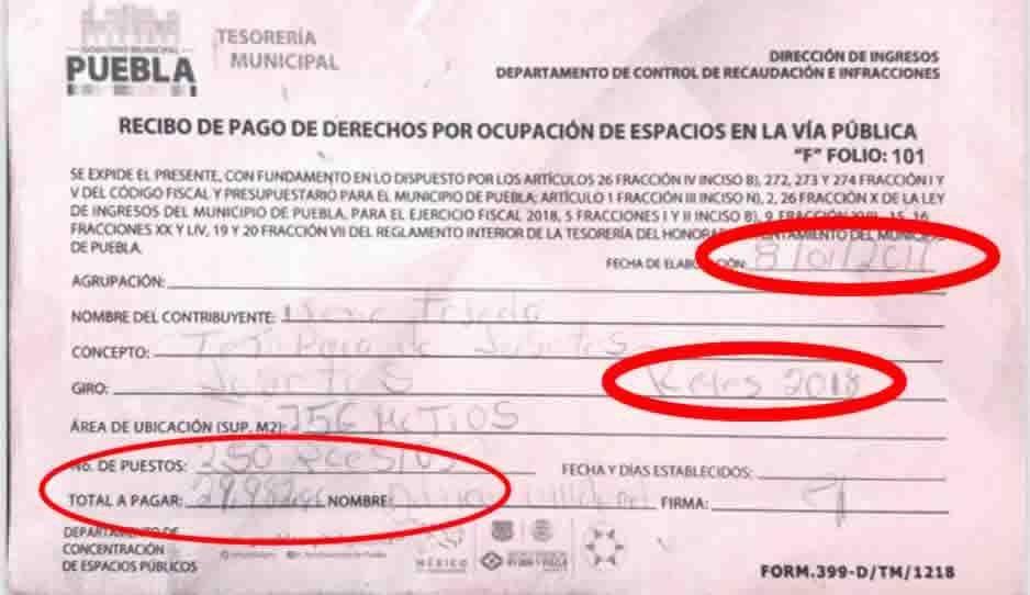 Se escuda René Sánchez con recibos firmados en 2017 para autorizar invasión de ambulantes en 2019