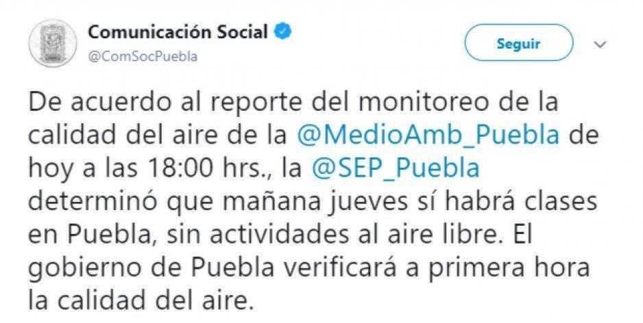 OFICIAL: Mañana sí habrá clases en Puebla, pese a contingencia ambiental
