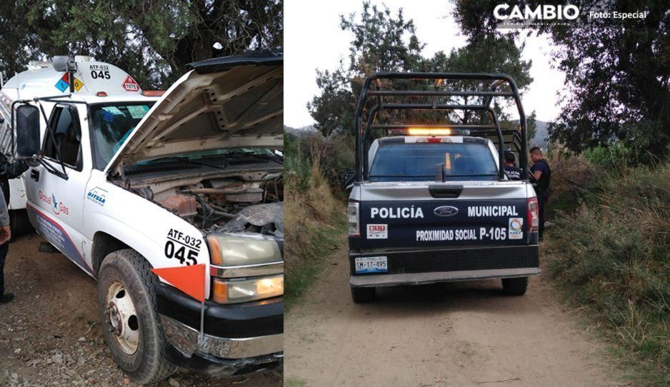 Policías de Tlalancaleca recuperan pipa de gas LP robada en Tlahuapan