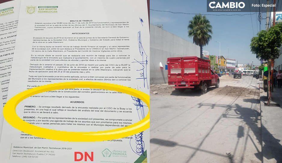 Se suspende la construcción del Corredor Gastronómico en Texmelucan
