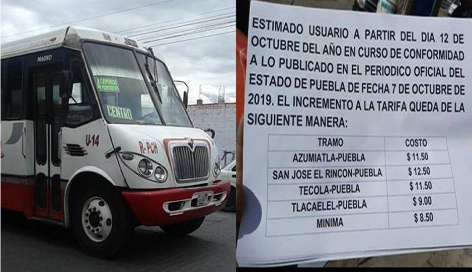 Pasajeros denuncian que rutas en Puebla cobran hasta 12.50 pesos